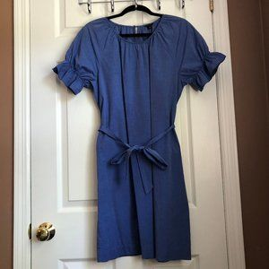 Ann Taylor Blue Puff Sleeve Tie Waist Shift Dress
